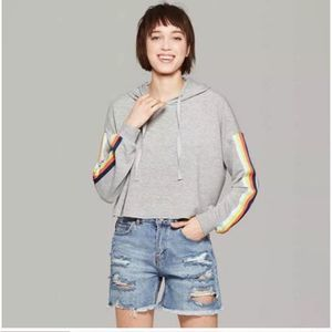Wild Fable Grey Crop Hoodie Rainbow Stripe Sleeve